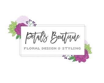 Vintage Floral Logo Design Purple Green Flower Rose Logo Branding Package Rustic Florist Logo Photography Logo Styling Logo Studio New Born