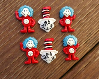 Resins Thing 1 Thing 2 Cat in the hat Bow Center Resin Flatback Dr. Seuss