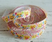 "7/8"" Ribbon by the Yard-Emoji-yellow face grosgrain ribbon-supplies by ribbon lane supplies on Etsy"
