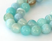Striped Agate Beads, Milky Teal, 8mm Round - 15 inch strand - eGR-AG3415-8