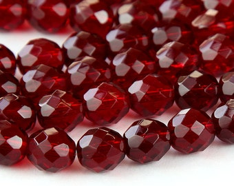 Ruby Czech Glass Beads, 10mm Faceted Round - 25 pcs - e9010-10