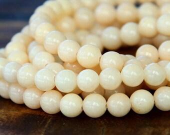 Mountain Jade Beads, Cream, 6mm Round - 15.5 Inch Strand - eMJR-A04-6