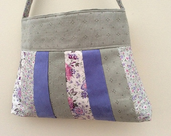 Lilac and green patchwork handbag