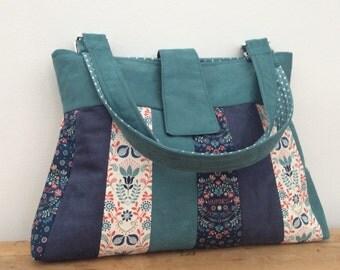 Teal and blue floral patchwork handbag