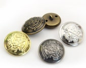 6 pcs 0.59~1.18 inch High-grade Retro Gold/Silver/Bronze/Ancient Silver Shield Metal Shank Buttons for Coats Sweaters