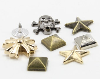10 pcs 0.35~0.67 inch Fashion Accessories Skull/Star/Cross/Spire Rivets Metal Shank Buttons for Accessories