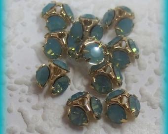 Swarovski Crystal 7MM Pacific Opal Rhinestone Bead Caps
