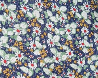 Flower Japanese cotton Fabric, Navy Blue Polka Dots Cotton Fabric, Fabric By The Yard, Cotton Fabric