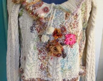 TEXTILE ART SWEATER, Cropped Wool Sweater, Unique Fiber Art to Wear, Shabby Chic Style, Handmade Stitching, Medium