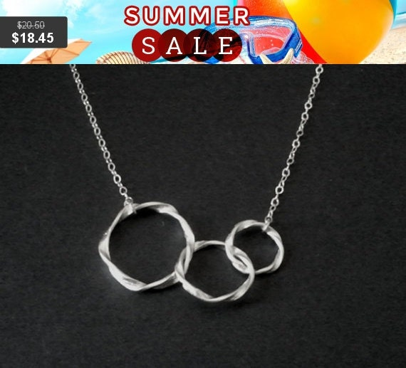 SALE!!  Eternity love Triple Circle Pendant,Statement necklace,charm, infinity love, wedding, christmas gift, cocktail jewelry