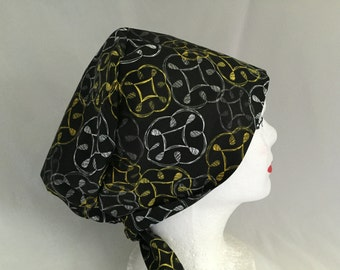 Scrub Hat Tie Back Pixie Style Black with yellow and white
