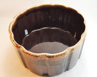 Vintage Brown Drip Glaze Deep Casserole Serving Dish #0789