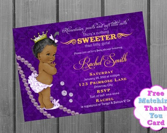 African American Girl Baby Shower Invitation and FREE Thank You Card Printable Cards - Baby Girl Shower Invite - Purple Gold Royal Shower
