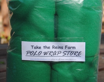 See *Take the Reins Farm* Polo Wrap Store here!  Horse polo leg wraps GRASSY GREEN color