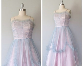 SALE 50s party dress size large / 50s tulle dress / 50s prom dress