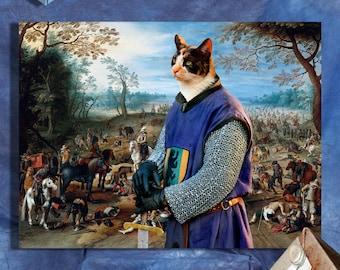 Calico Cat Fine Art Canvas Print - After the Battle