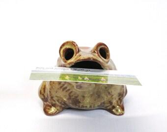 Frog Figurine - Stoneware Frog Figure - Card Holder - Pencil Holder