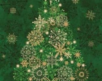 Starry Night 2 Christmas Tree 100% Cotton Quilting Fabric Panel Wall Hanging