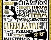 Cheerleading Print, cheer print,  custom cheerleading poster, cheerleading team gift - cheerleading poster - cheerleading sign - high school