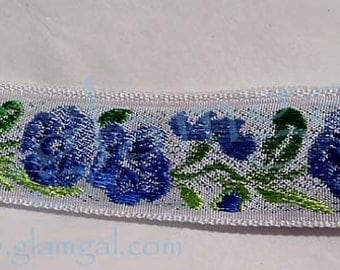 Lovely Swiss pansy themed trim, multi-hued blues and greens on a white background, 2 3/4 yards only