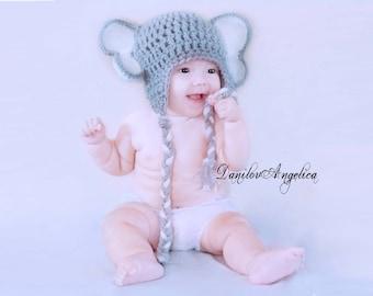 Elephant hat, elephant crochet hat, Baby Boy,  Baby Girl Crochet Hat Elephant Earflap Photo prop