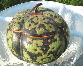 green black clay glazed pumpkin thai pottery