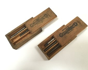 VINTAGE Greenfield Corporation Hand Taps - GTD - Taper Plug - Wooden Boxes Dovetailed - Vintage Tools
