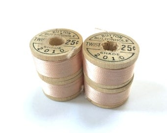 BELDING CORTICELLI - Vintage Thread - Pure Silk - Pink #2010 - 10 yd Spools - Buttonhole Embroidery Ribbon Fly Tying