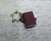 Leather Book Earrings, Blank Book Earrings, Miniature Book Earrings, Book Lovers Earrings, Writers Earrings, Tiny Book Earrings, Mini Books