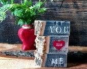 You and Me Sign - Romantic Gift - Wood Blocks - Long Distance Relationship - Boyfriend Gift - Love Gift