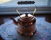 Vintage copper teapot solid copper with blue and white porcelain handles kitchen decor copper decor teapot French Country