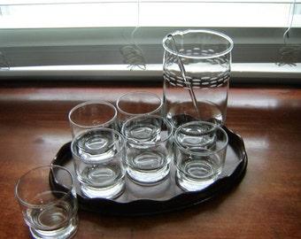 Vintage Princess House martini set 8 pc set etched mixer plus 6 glasses and stir stick wedding table decor mancave bar decor