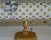 Headband Holder Headband Organizer Headband Display Stand with Bracelet Bar with White and Metallic Gold Dot Fabric