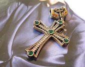 Vintage 925 Sterling silver green stone cross pendant, antique finish slider,  6 g, Woman's accessory, gift idea