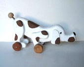 Vintage Wood Dog Pull Toy, White and Brown, Nursery Decor, handmade wood toy, artist signed, gift idea