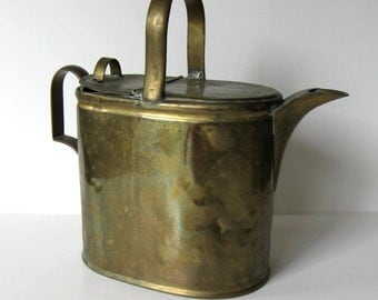 Antique Bras Watering Can, Hot Water pot, circa 1900, Farmhouse decor, Gardening decor, Shabby Cottage decor, gift idea