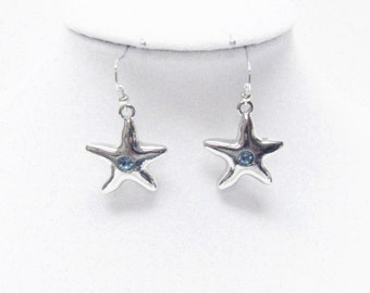 Silver Plated Star Fish w/Aqua Crystal Earrings