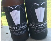 Beer bottle labels // black suit and tie beer bottle label // suit up beer bottle label // Asking Groomsman Gift // Wedding Favor // Custom