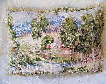 Vintage Pillow with Fringe.Antique Fringed Pillow.Shabby Chic Pillow.Decorative Pillows for Couch.Home Decor Pillow.Antique Scenic Pillow.