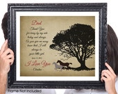 Thank You Dad, Personalized Wedding Gift, Father of the Bride, CustomTree Print, Modern Horse Silhouette, Farmhouse Rustic Shabby Chic