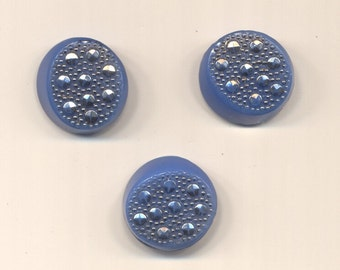 Three Light Blue Glass Buttons with Silver Sparkles