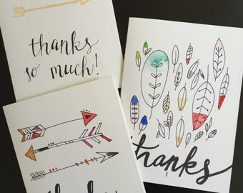 Thank You Cards - arrows and feathers (3 pack)