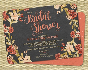 Fall Bridal Shower Invitation Navy Fall Shower Orange