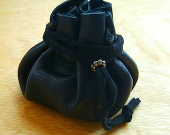 Small, Black, Leather Dice Bag