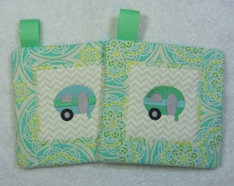 Little Camper/Trailer Pot Holder Quilted Embroidered Hot Pad Set of 2 - Hot Pad/Pot Holders Trivet Ready to Ship