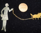 Vintage  Art Deco Pin  with 1920's flapper Lady & her dog on a chain