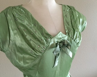 40s Spring Green Rhinestone Accent Satin Party Dress