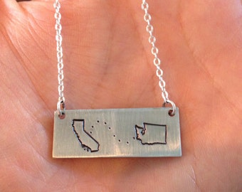 Custom multi state pendant necklace hand stamped