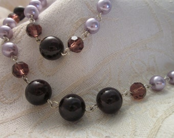 Red Garnets and Light Purple English Heather Glass Bead Necklace Jewelry SET