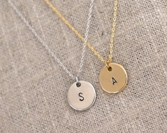 SALE Initial Disc Necklace - Monogram Necklace - Personalized Gold or Silver Initial Circle Necklace - Everyday Jewelry, Bridesmaid Gifts
